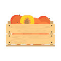Wooden crate with peaches