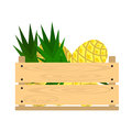 Wooden crate with pineapples