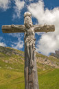Wooden cross on alps nice view of alpine landscape dolomites italy Royalty Free Stock Images
