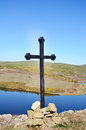 Wooden cross in the mountain ohe top of Stock Image