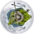 Wooden cross on mountain peak. Tiny planet Royalty Free Stock Photo