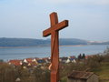 Wooden cross at pilgrimage route scenery a on the mountain of the way of st james lake brombachsee franconia germany Royalty Free Stock Photography