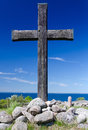 Wooden cross on swedish coast old hano island Stock Image
