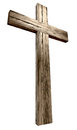 Wooden crucifix a cross on an isolated background Royalty Free Stock Image