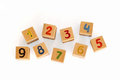Wooden cubes with numbers for children Royalty Free Stock Images