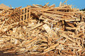 Wooden debris a large pile of mostly from planks and pallets Royalty Free Stock Photography