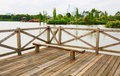 wooden deck wood outdoor patio river terrace Royalty Free Stock Photo