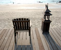 Wooden Deck Chair Facing Sea Royalty Free Stock Photography