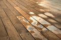 Wooden deck floor boardwalk water sprayed ricochets splashed off waves breaking against boardwalk s wall Stock Photo