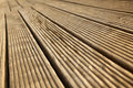 Wooden deck floor sunlight diminishing pespective Royalty Free Stock Photos