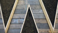 Wooden decking with dirt in between Royalty Free Stock Photo
