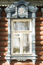 Wooden decoration on traditional Russian window Stock Photo