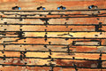 Wooden dhow texture study a of the seams of a boat hull that is under construction Royalty Free Stock Photos
