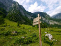 Wooden direction sign at berchtesgaden national park germany Royalty Free Stock Photo