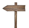 Wooden direction sign isolated on white Royalty Free Stock Photo