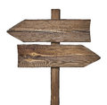 Wooden direction sign with two arrows in opposite directions