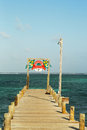 Wooden dock at the waterfront in san pedro belize june on june is a popular tourist destination island Stock Images
