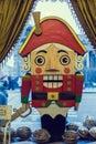 Wooden doll nutcracker christmas decoration shop window in st petersburg Stock Photos