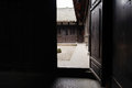 Wooden door of ancient Chinese mansion Stock Photo