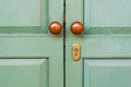Wooden door with brown knobs green Stock Photography
