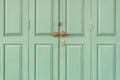 Wooden door with brown knobs green Stock Image