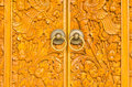 Wooden door of country house with carved ornament Stock Images