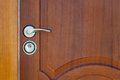 Wooden door handle lock Royalty Free Stock Photo