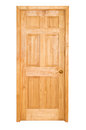 Wooden door isolated on the white background Stock Photo