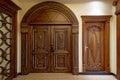 Wooden door modern family illuminative beautiful Royalty Free Stock Photo