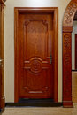 Wooden door modern family illuminative beautiful Royalty Free Stock Photo