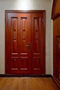 Wooden door modern family illuminative beautiful Stock Photography