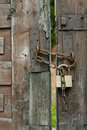 Wooden Door and Padlock Royalty Free Stock Photo
