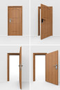 Wooden door set in many position Stock Photography
