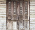 Wooden doors traditional old doors with wooden wall thailand Royalty Free Stock Photography
