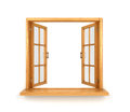 Wooden double window opened isolated Royalty Free Stock Photo