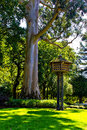Wooden dovecote in summer park spain Royalty Free Stock Photo