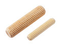 Wooden dowel pins close up heap of isolated on white deep focus image with path Royalty Free Stock Photography