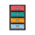 Wooden drawer isolated icon