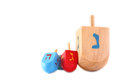 Wooden dreidels for hanukkah isolated on white background Royalty Free Stock Photo