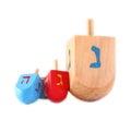 Wooden dreidels for hanukkah isolated on white background. Royalty Free Stock Photo
