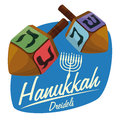 Wooden Dreidels on Hanukkah Sticker, Vector Illustration Royalty Free Stock Photo