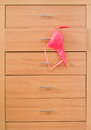 Wooden dresser with pink bra Stock Images