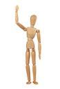 Wooden dummy man waving hello Royalty Free Stock Photo