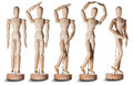 Wooden dummy models against a white background Royalty Free Stock Images