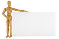 Wooden dummy with paper Royalty Free Stock Photo