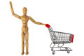Wooden dummy with Shopping Cart Stock Photography