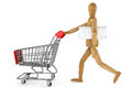 Wooden dummy with Shopping Cart and keyboard Stock Photo