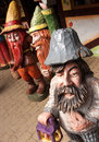 Wooden dwarves colorful wood sculptures of dwarf or gnome figures Royalty Free Stock Photography