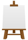 Wooden easel with blank canvas isolated on white background Royalty Free Stock Image