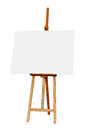 Wooden Easel with Blank Painting Canvas Isolated on White Backgr Royalty Free Stock Photo